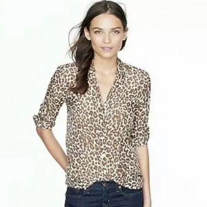 J. Crew Leopard Silk Cotton Button Perfect Shirt